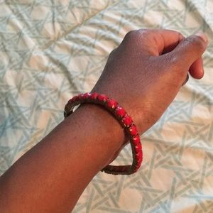 *FREE W/BUNDLE* Red & Gold Jeweled Bracelet